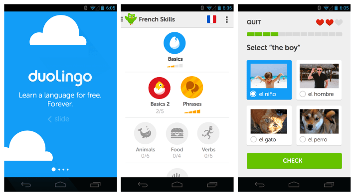 Learning languages through apps: Duolingo relies on visual learning.