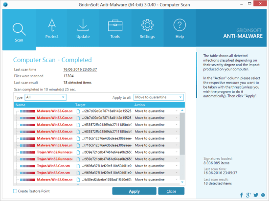Apply actions by GridinSoft Anti-Malware