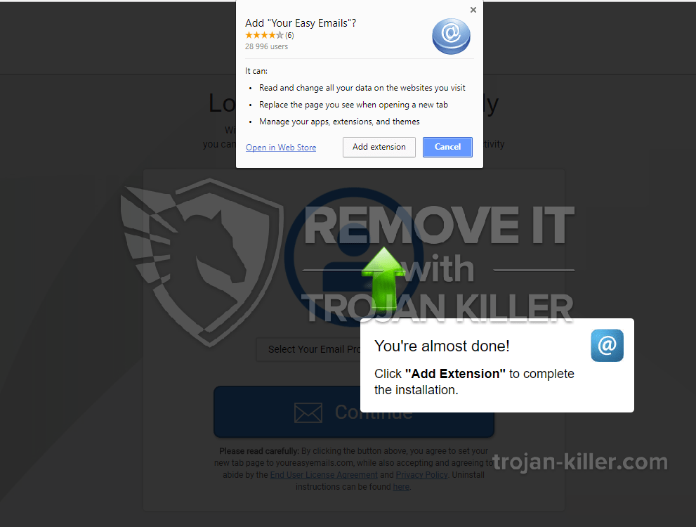 remove youreasyemails.com virus