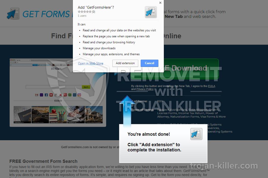 remove getformshere.com virus