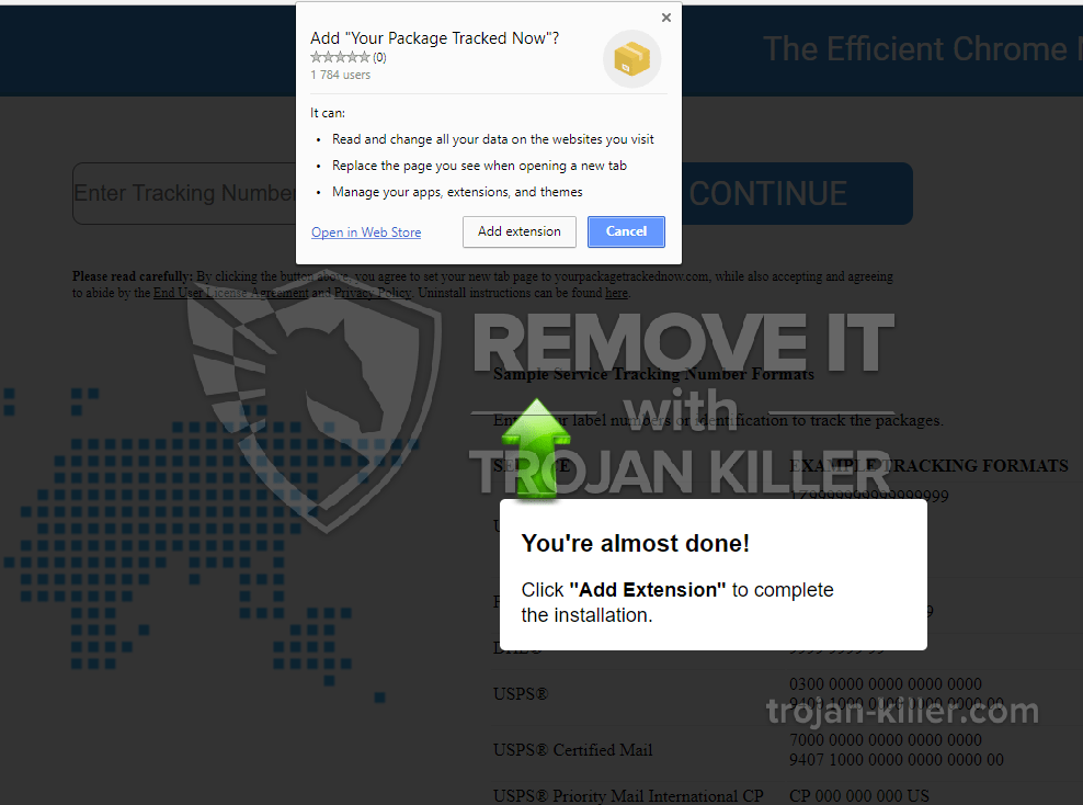 remove yourpackagetrackednow.com virus