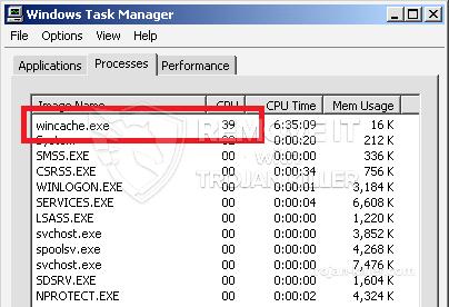 remove wincache.exe virus