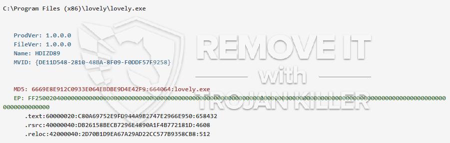 remove lovely.exe virus