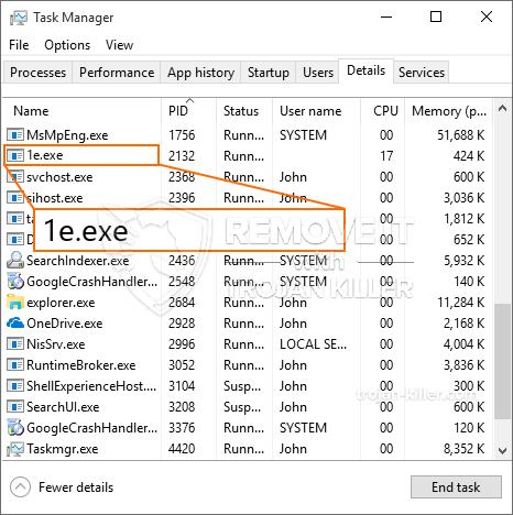 remove 1e.exe virus