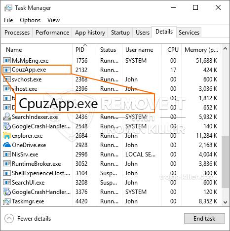 remove CpuzApp.exe virus