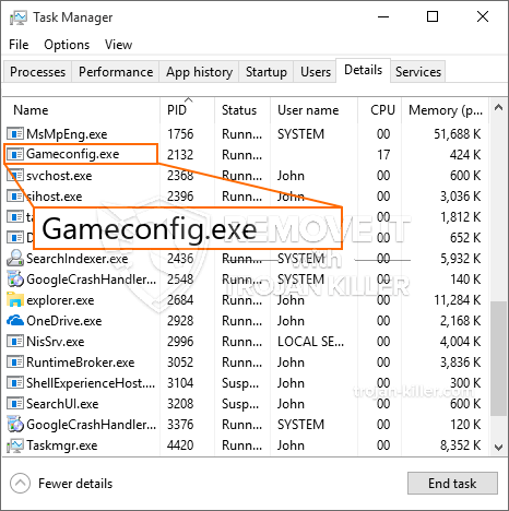remove Gameconfig.exe virus