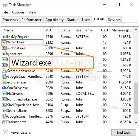 remove Wizard.exe virus