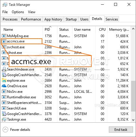 remove accmcs.exe virus