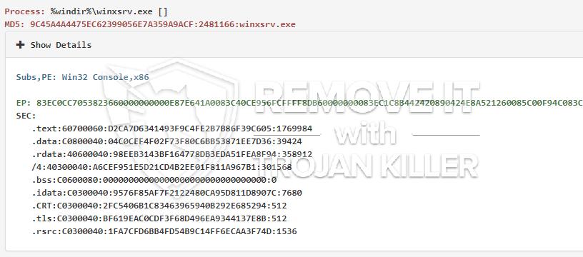 remove winxsrv.exe virus