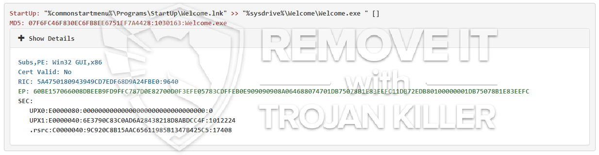 remove Welcome.exe virus
