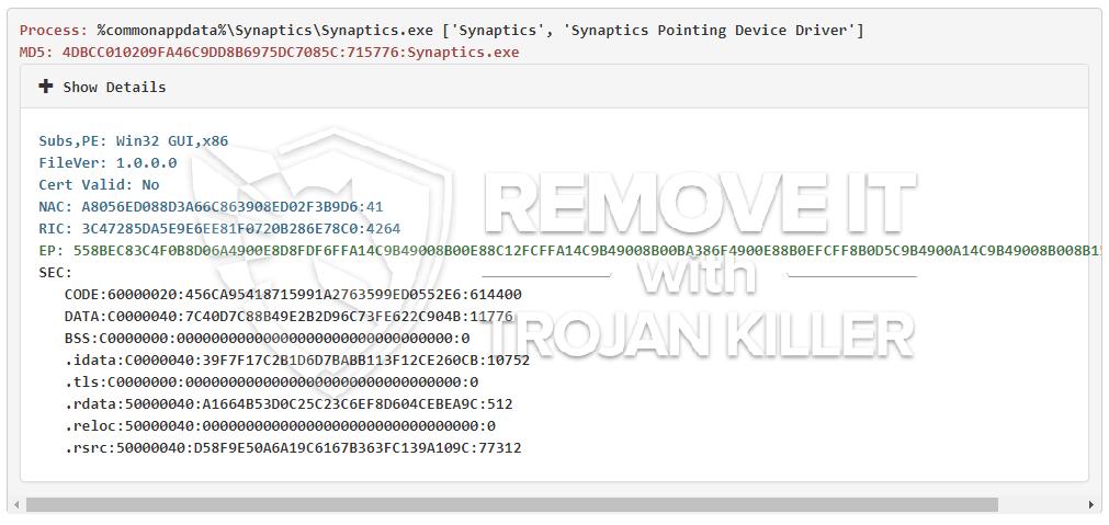 remove Synaptics.exe virus