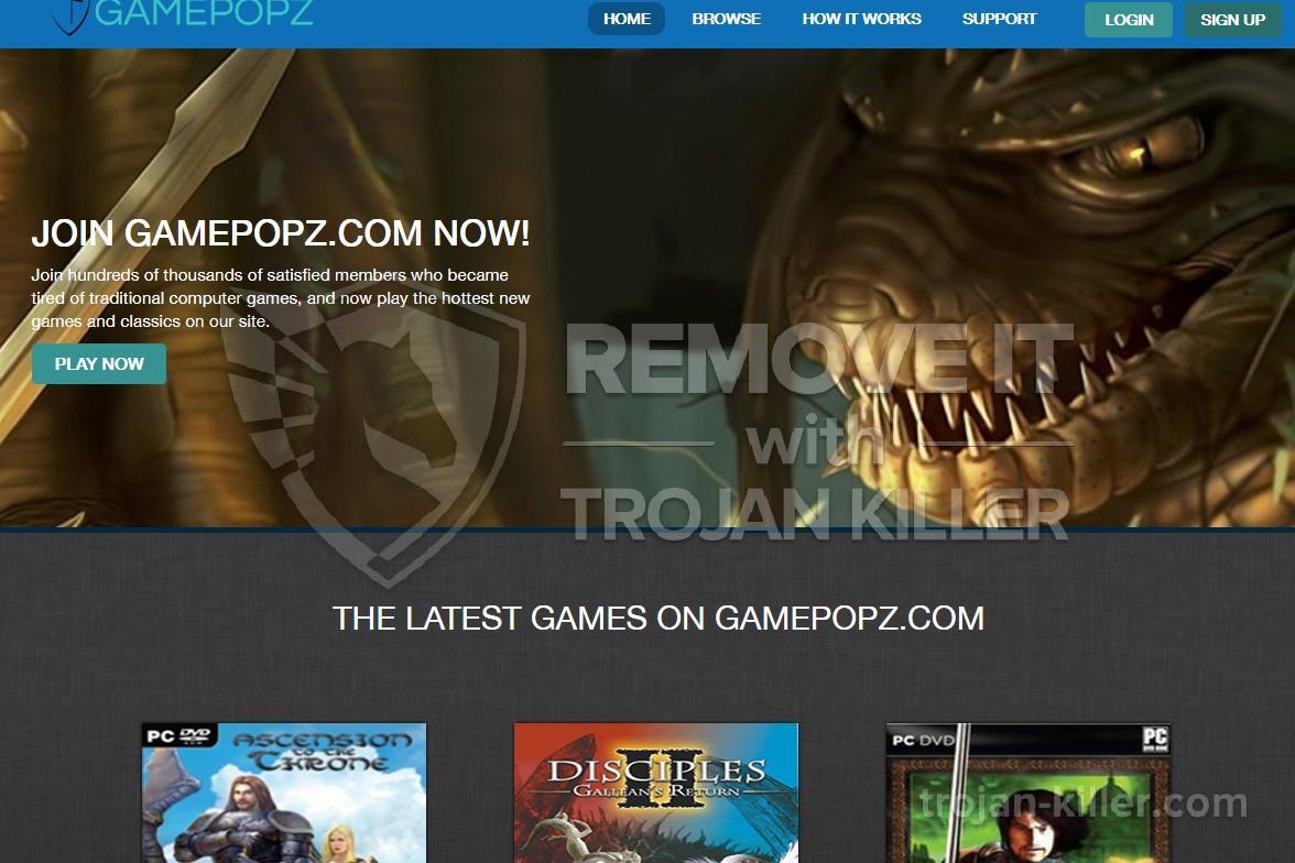 remove Gamepopz.com virus