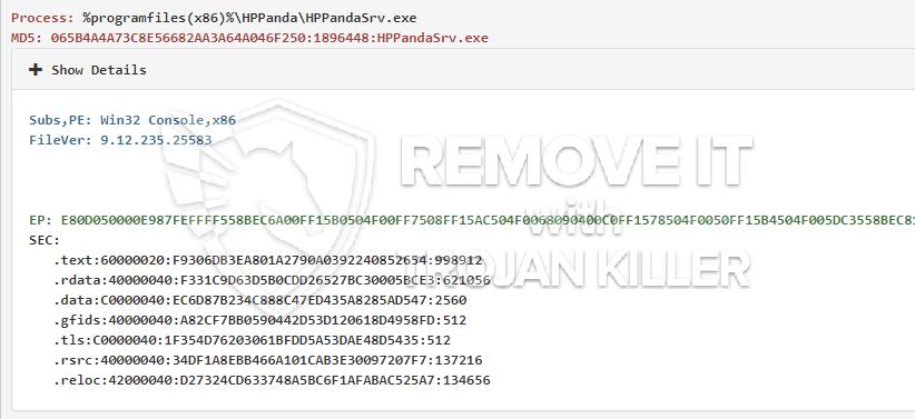 remove HPPandaSrv.exe virus