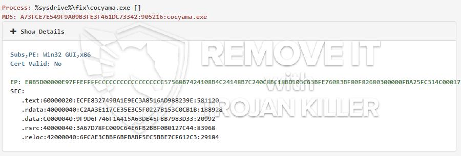 remove cocyama.exe virus
