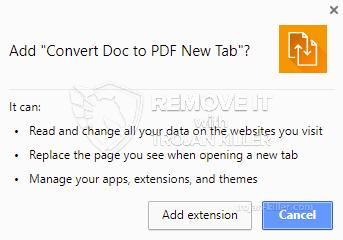 remove Convert Doc to PDF New Tab virus