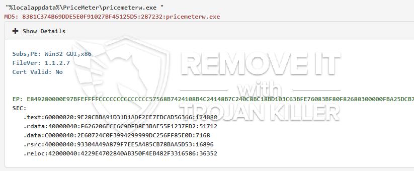 remove pricemeterw.exe virus
