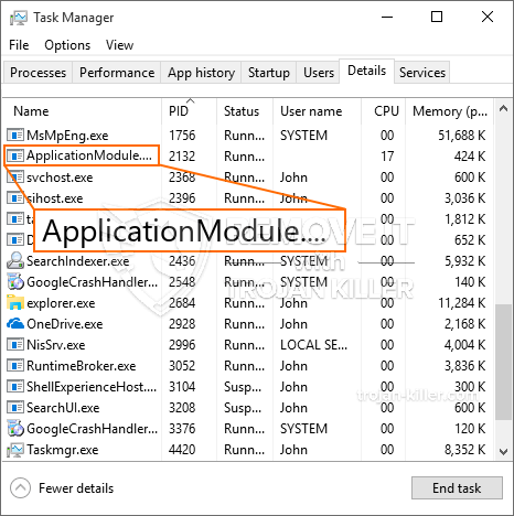 remove ApplicationModule.exe virus
