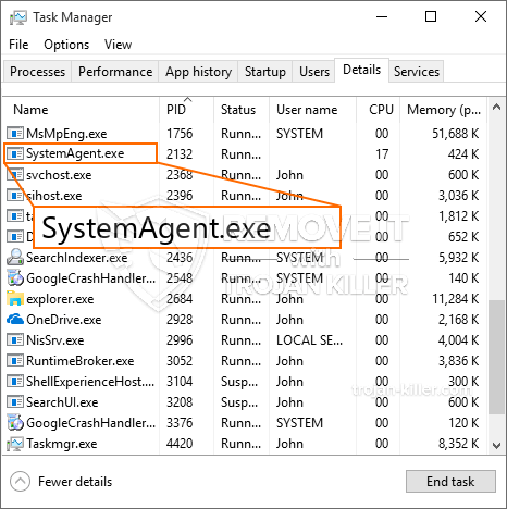 remove SystemAgent.exe virus