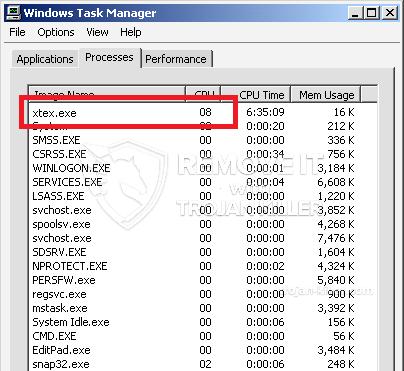 remove xtex.exe virus