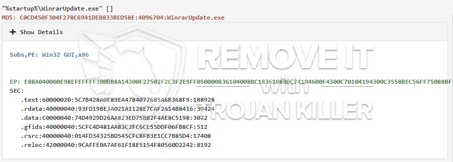 remove WinrarUpdate.exe virus