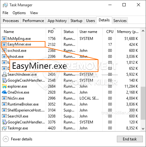 remove EasyMiner.exe virus