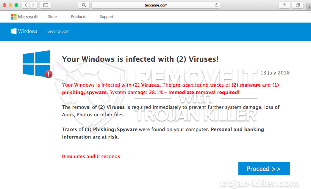 remove Your Windows is infected with (2) Viruses! virus