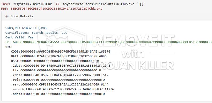 remove DTChk.exe virus