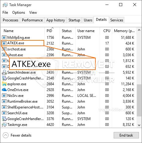remove ATKEX.exe virus