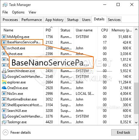 remove BaseNanoServicePackUpdater.exe virus