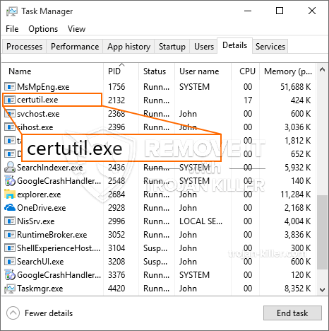How to get rid of certutil exe malware? Malicious process
