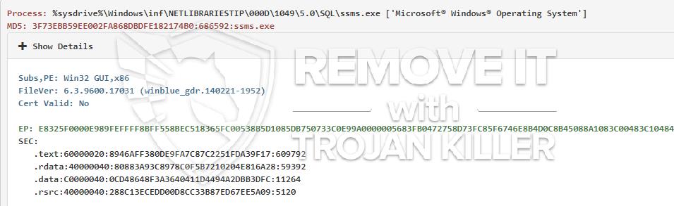 remove ssms.exe virus