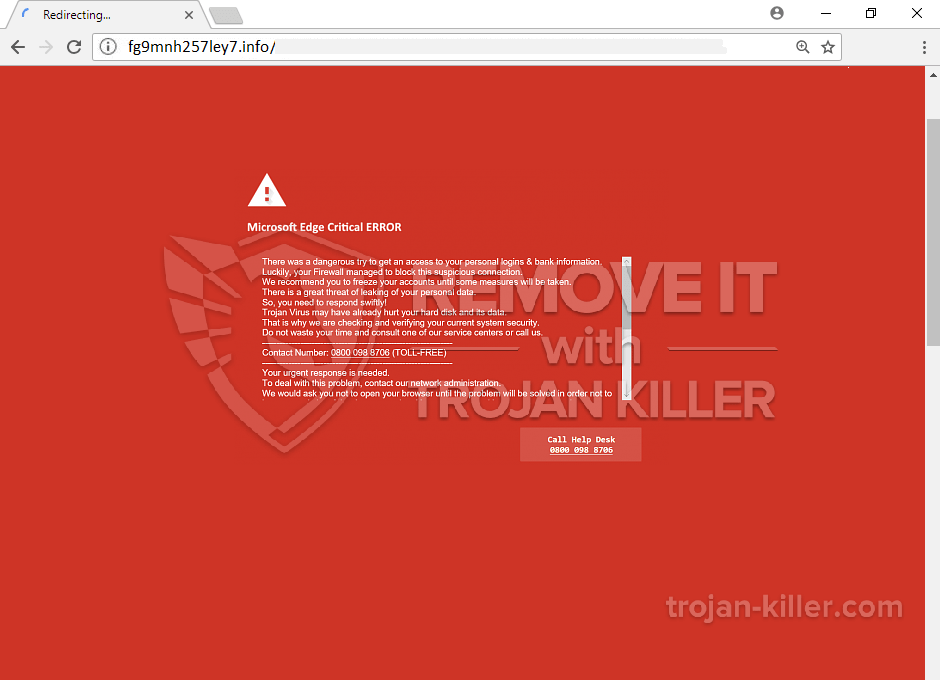 remove Microsoft Edge Critical ERROR virus
