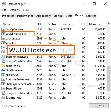 remove WUDFHosts.exe virus