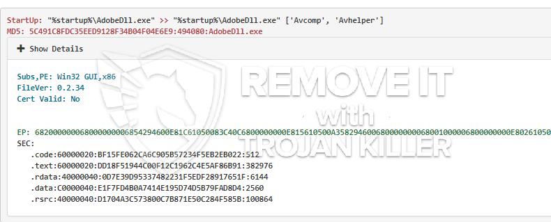 remove AdobeDll.exe virus