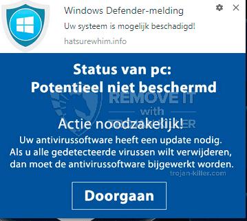 remove Uw systeem is mogelijk beschadigd! virus