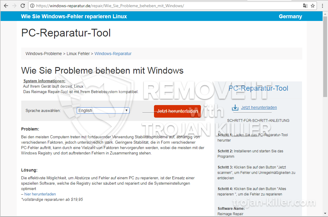 remove Windows-reparatur.de virus