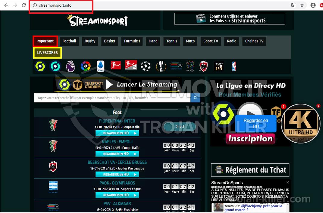 remove Streamonsport.info virus