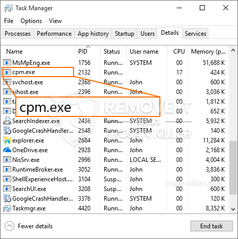 What is Cpm.exe?