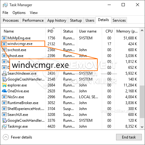 What is Windvcmgr.exe?