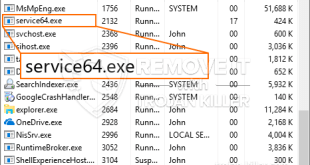 Uninstall Service64.exe program from windows PC