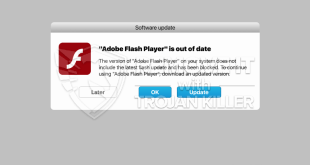 fake Adobe Flash Player update alert removal.