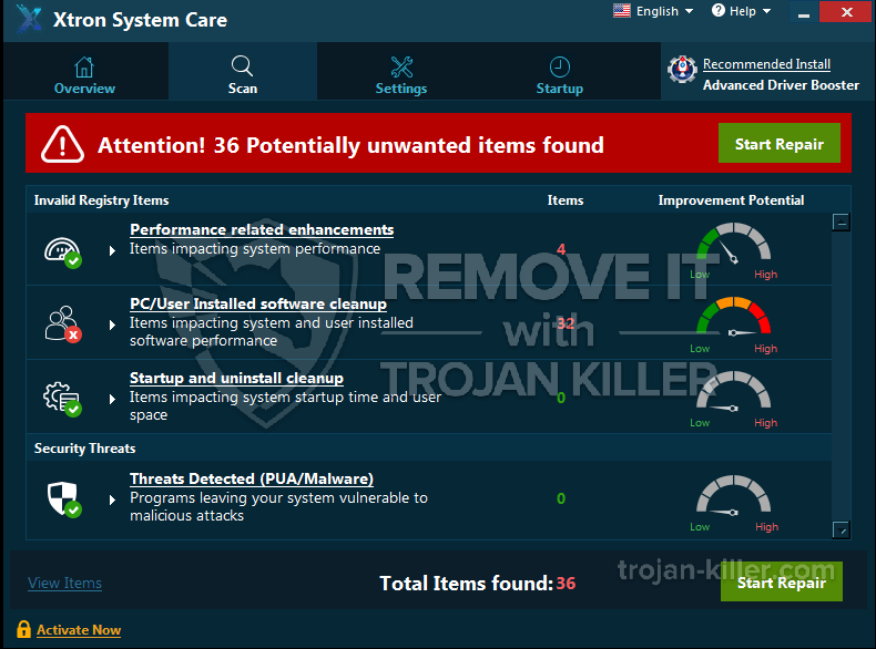 remove Xtron System Care