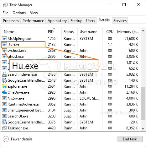 What is Hu.exe?