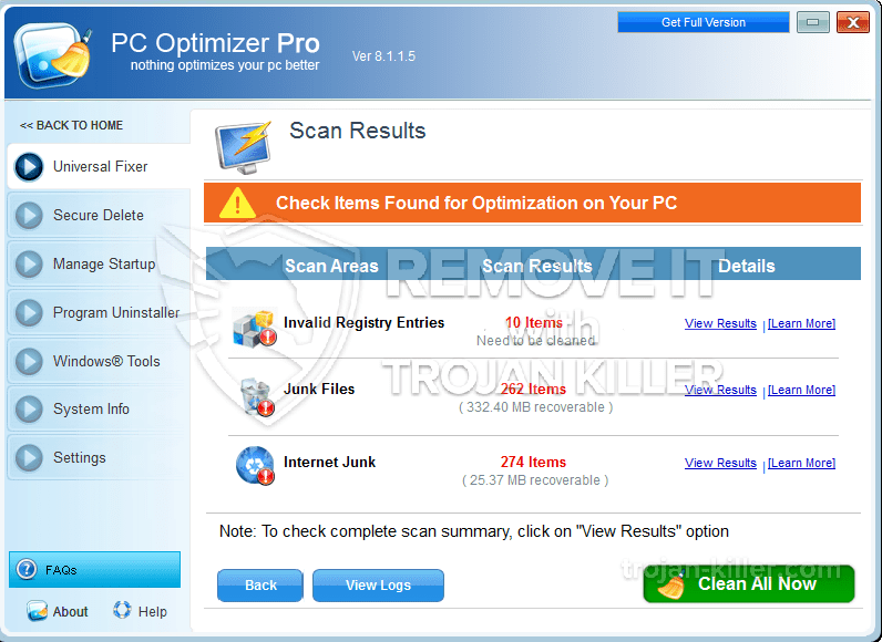 verwijder PC Optimizer Pro