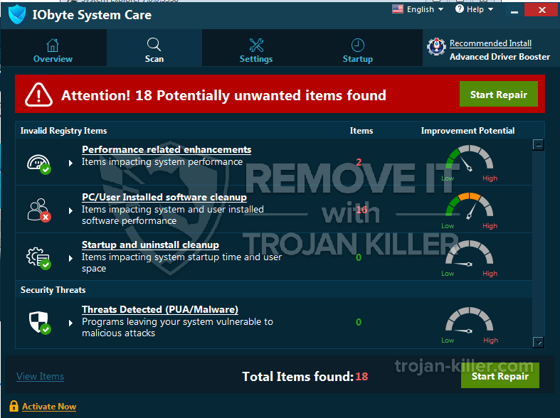 remove IObyte System Care