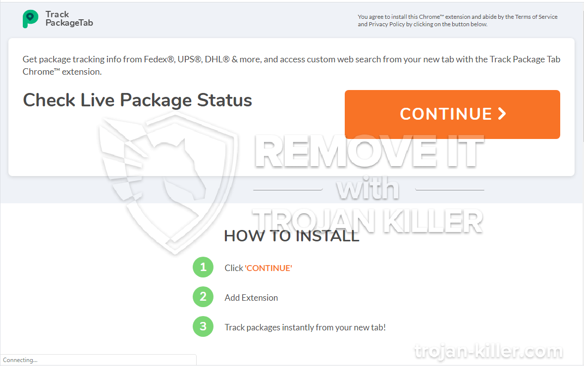 Trackpackagetab.com virus