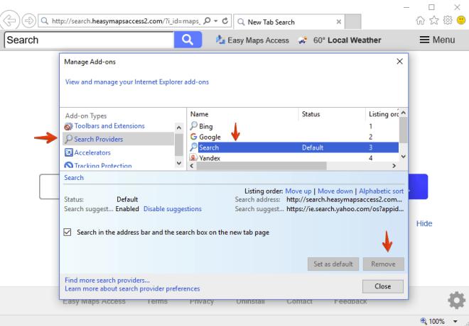 Internet Explorer - Search Providers