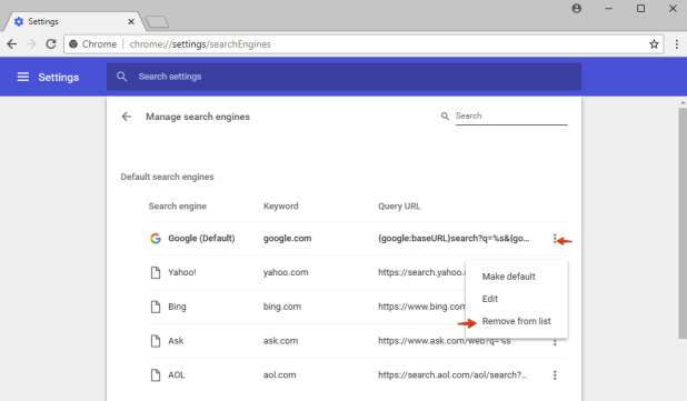 Removing unwanted search engine from Google Chrome list