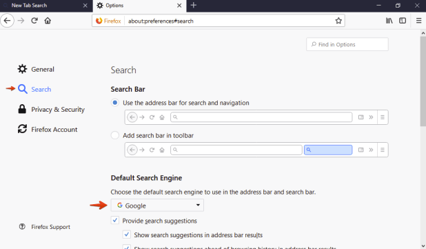 Search engine selection in Mozilla Firefox