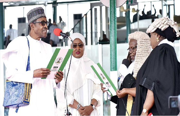 Obasanjo urges Aisha Buhari to engage husband in 'pillow talk' on state of nation